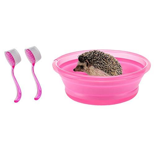 HanryDong Faltbare Igelbbbadewanne mit 2tlg. Badebürste Kunststoff Kleintier Schwimmbad Bad Sandraum Sauna für Igelhamster Meerschweinchen Blau Rosa
