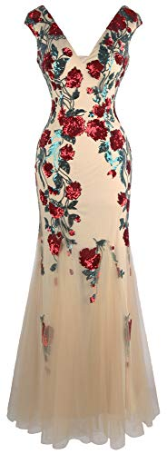 Angel-fashions vestido de fiesta de graduación con cuello en V profundo rosa con lentejuelas