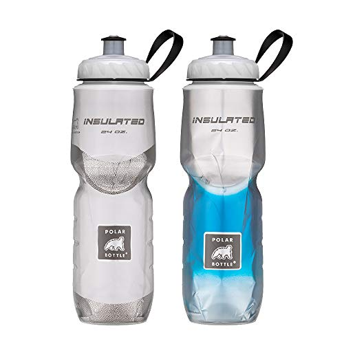 Polar Bottle Insulated Water Bottle 24 oz, 2 Pack - 100% BPA-Free Cycling and Sports Water Bottle (White/Blue Fade)