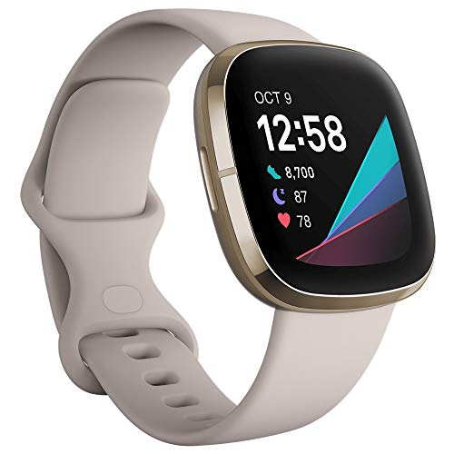 Fitbit Sense Advanced Smartwatch with Tools for Heart Health, Stress Management & Skin Temperature Trends, Lunar White/Soft Gold, One Size...