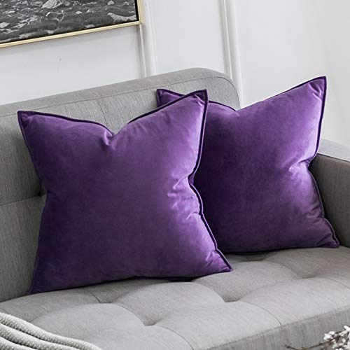 MIULEE Pack of 2 Velvet Soft Decorative Square Throw Pillow Case Flanges Cushion Covers Pillowcases for Livingroom Sofa Bedroom with Invisible Zipper 50cm x 50cm 20x20 Inch Set of Two Purple
