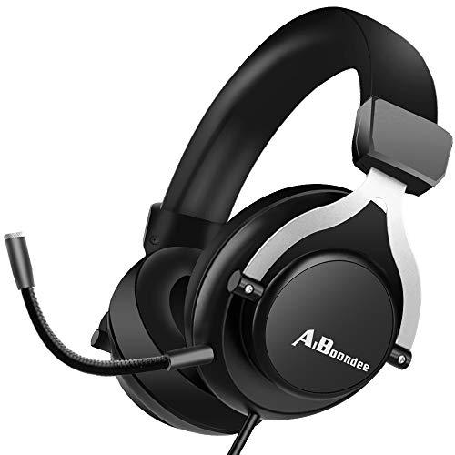 Fone de ouvido para jogos Xbox One para PS4, PC, fone de ouvido com luz LED no ouvido com microfone para Mac, laptop, Nintendo Switch Games com fio, Preto, 6 x 3 x 5 inches