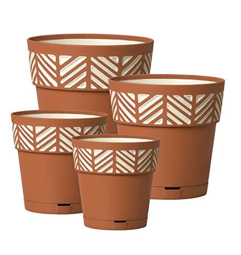 Kreher 4 Stück Pflanztöpfe ORFEO Hochwertiges 3D-Design in leicht Matter Ausführung mit integrierten Wasserspeicher. Mit 4 verschiedenen Durchmesser (Terrakotta)