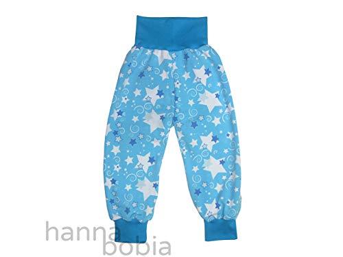 Pumphose, Babyhose aus Jersey mit Sternen und Kringeln auf türkis, Größe 92/98, 95% Baumwolle, 5% Elasthan