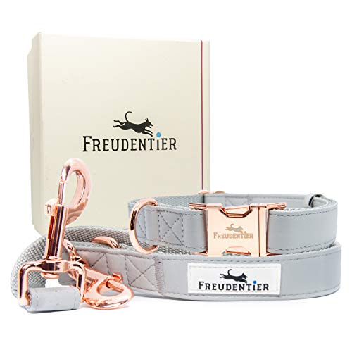 Freudentier® Hundeleine (2m) + Hundehalsband im Set inkl. Geschenkbox- Stilechte Lederoptik mit Rosé Gold - Winterfest & pflegeleicht