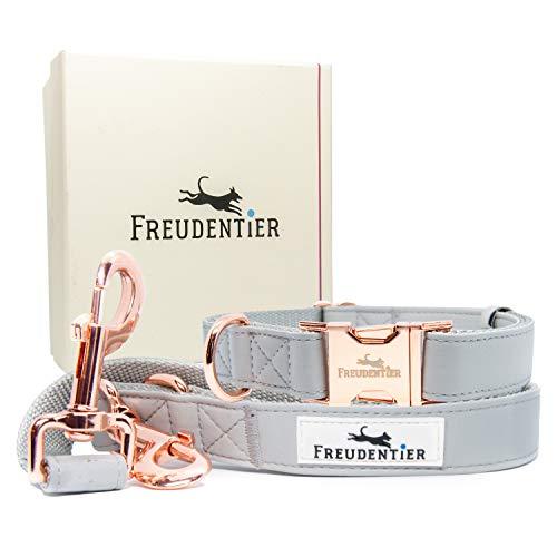 Freudentier® Hundeleine (2m) + Hundehalsband im Set - Lederoptik mit Rosé Gold - Inkl. Geschenkbox - Urbane Eleganz