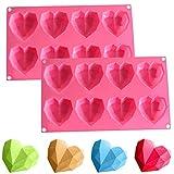 Silikonform 3D Diamant Herz, NALCY 3D Diamant Herzform Kuchenform, Cupcake - Herzen Silikonform,...