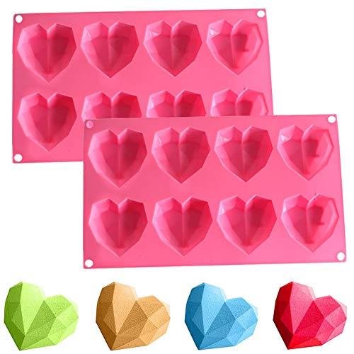 Silikonform 3D Diamant Herz, NALCY 3D Diamant Herzform Kuchenform, Cupcake - Herzen Silikonform, für Kuchen Backen Süßigkeiten Schokolade Cupcake Muffins Seife (2PC)