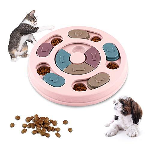 WELLXUNK Juguete de Puzzle para Perros, Alimentador Interactivo para Cachorros, Juego de Inteligencia para Perros, Alimentador Lento para Perros, Cachorros y Gatos, con Antideslizante (Rosa)