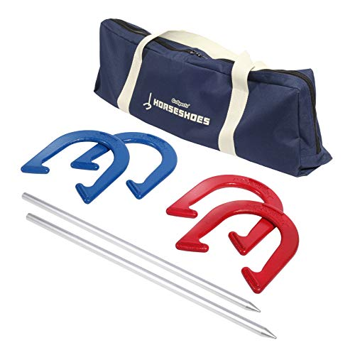 GoSports Horseshoes Regulation Game Set - Includes 4 Horseshoes, 2 Stakes and Carrying Case