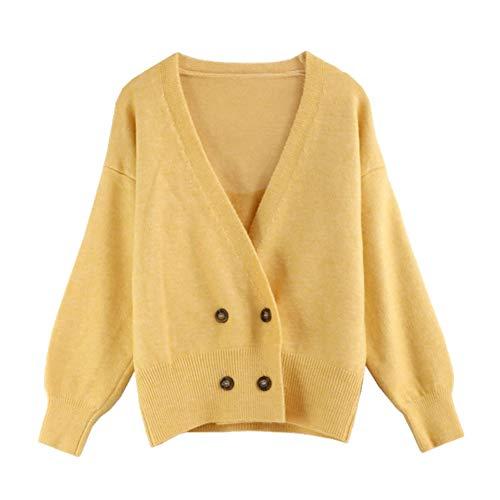 LIBILAA Casual Tops gebreide trui cardigan voor vrouwen losse gebreide jas jas vaste outwear (kleur: geel, maat: one size)