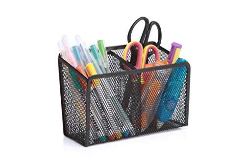 StorageMax Magnetic Pencil Holder and Locker Organizer, Wire Mesh Storage Basket for Refrigerator, Whiteboard or Office Cabinet. Extra Strong Magnets. Office Accessories (Black, 2 Compartment)
