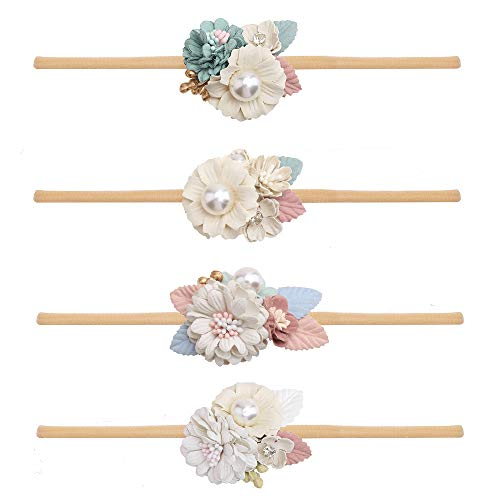 DELEBAO Baby Girls Floral Headbands Nylon Flowers Crown Hair Bow Elastic Bands for Newborn Infant Toddlers Kids Pack of 4