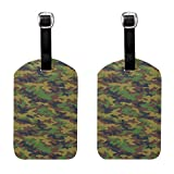 Army Digital Camo Military Luggage Tags Full Back Privacy Cover Name ID Labels Set For Trave Bag Tag For Suitcase 2 Piece