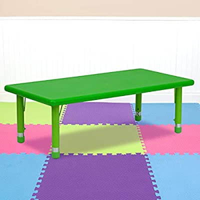 Flash Furniture 24''W x 48''L Rectangular Green Plastic Height Adjustable Activity Table from Flash Furniture
