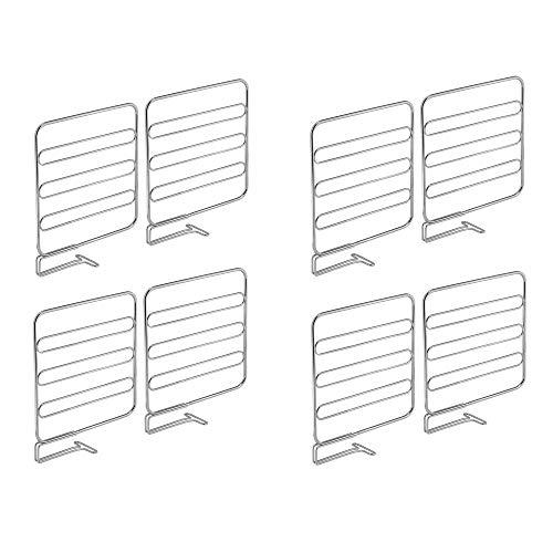 mDesign 8er-Set Regaltrenner für den Kleiderschrank – praktisches Kleiderschranksystem aus Metall – nützliches Regalsystem ohne Bohren – silber