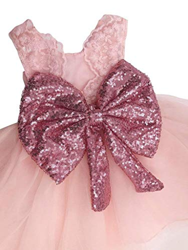 Sanwood Girls Bowknot Lace Princess Skirt Summer Sequins Robes pour bébé Tout-petits Enfants 0-5 ans Rouge Rose Kid-80