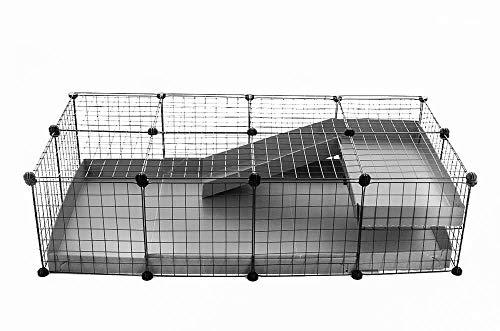 Kavee C&C Metallgitter Käfig für Kleintiere, erweiterbar, DIY, mit Bodenplatten, Freigehege, Laufstall für Haustiere, Meerschweinchen, Igel, Schildkröte 4x2 Loft0
