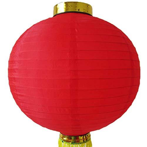 Rotonde di seta lanterne cinesi con fiocco oro 20 centimetri Wedding della festa di compleanno Decorazioni Lanterne (Color : Red)