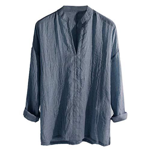 Kanpola Herren Hemd Stehkragen Langarm T-Shirt V-Ausschnitt MäNner Vintage Einfarbige Freizeithemd Loose Fit