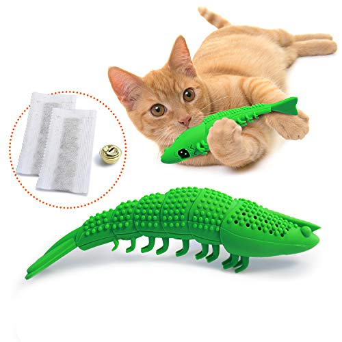 Ronton Cat Toothbrush Catnip Toy - Durable Hard Rubber - Cat Dental Care, Cat Interactive Toothbrush Chew Toy (1-Pack Green)