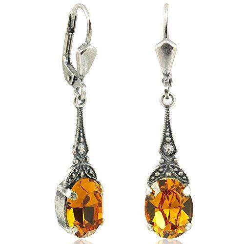 Jugendstil Ohrringe mit Kristallen von Swarovski® Silber Gelb NOBEL SCHMUCK