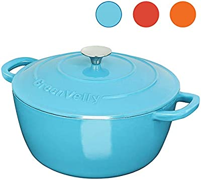 Greenvelly 4.5 Quart Enameled Cast Iron Dutch Oven Natural Non-Stick Slow Cook with Lid Stew-pans-Blue