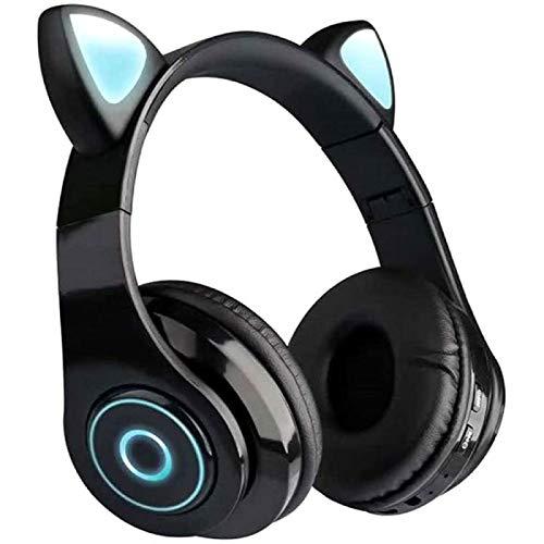 SONG B39 Cute Cat Ear Headset Wireless BT5.0 Auriculares Plegables para Juegos con Luces de Flash Auriculares Tarjeta TF Reproducir/Modo con Cable,Black