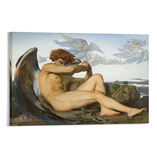 XIONGJIE Fallen Angel Alexandre Cabanel - Stampa artistica su tela e stampa artistica da parete, 50 x 75 cm