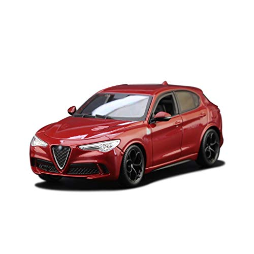 1:24 Die-Cast-Auto-Modell/Kompatibel mit Alfa Romeo Stelvio/Static Auto-Modell-Simulation Legierung Auto-Modell SUV Static Model Car (Color : Red)