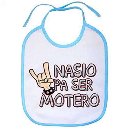 Babero Nacido pa ser motero - Celeste