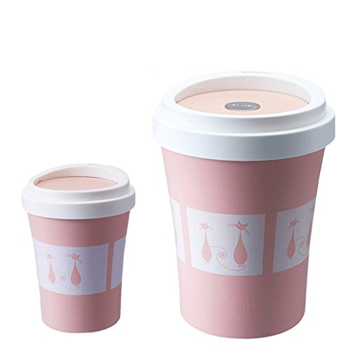 Poubelle LCSHAN Creative Papier Toilette Panier Maison Salon Taille Shake Tasse en Plastique Tasse Peut définir (Color : Pink)