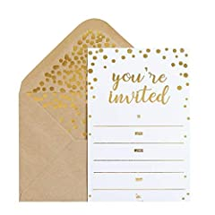 ELEGANT & STYLISH - Each card embossed with ''You are Invited'' in Gold Foil Letters, with smooth matte finish creates an elegant and stylish look. Perfect for someone's special big day! PREMIUM QUALITY - Each card is made with high-quality 250 gsm T...