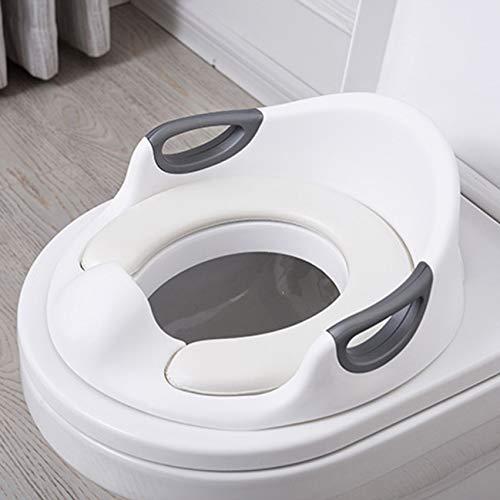 Réducteur de Toilette Rehausseur WC Enfant Siège d'entraînement de Toilette Pot Taille Bébé Anneau de toilette pour Enfant (Blanc)