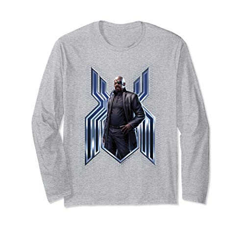 Marvel Spider-Man Far From Home Nick Fury Spider-Man Logo Long Sleeve T-Shirt