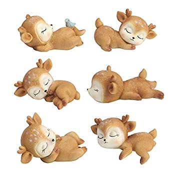6 Pack Deer Figurines Cake Topper Woodland Animal Doe Fawn Desktop Decoration Cute Miniature Statue Party Ornaments for Baby Shower Birthday Anniversary
