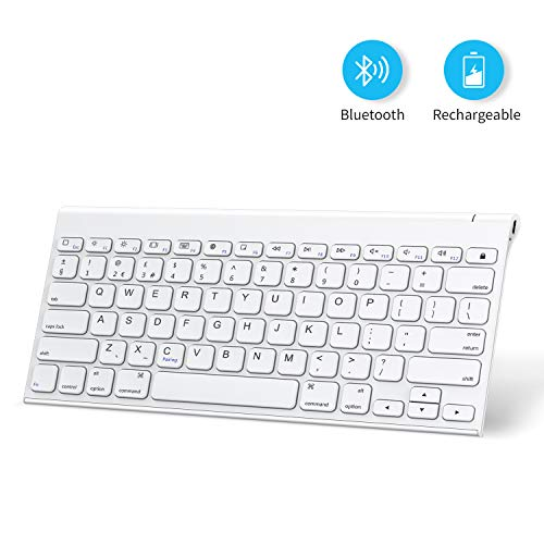 Keyboard for iPad, OMOTON Aluminum Bluetooth Keyboard Compatible with iPad 10.2 2019, iPad Pro 11/12.9(2018/2020), iPad Air 3, iPad Pro 10.5, iPhone and More, Built-in Rechargeable Battery, White