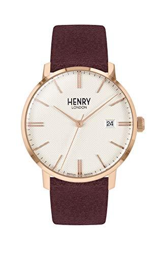 Henry London Orologio Analogico Quarzo Unisex Adulto con Cinturino in Pelle HL40-S-0356