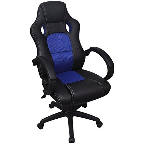 Bureaustoel directie racemodel blauw kunstleer