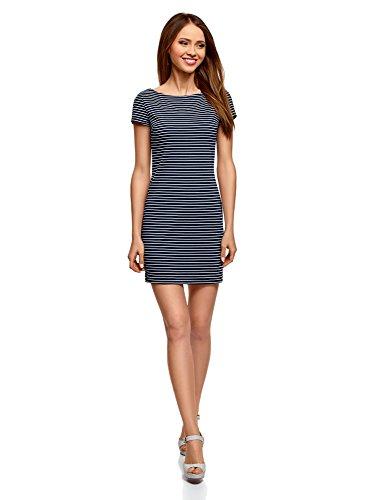 oodji Ultra Damen Enges Kleid mit U-Boot-Ausschnitt, Blau, DE 36 / EU 38 / S