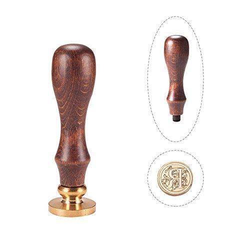 PandaHall Elite - Cuño de lacre con mango de madera y sellos de latón con las letras del alfabeto, Letra A, 25 x 14 mm, 75 mm, Letra-r, 25x14mmx75mm
