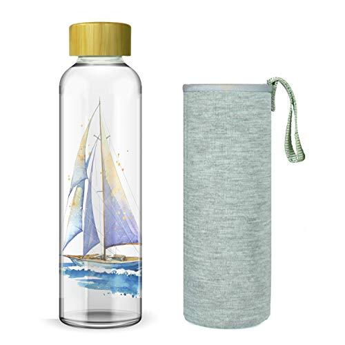 Wenburg Botella de agua de 550/750/1000 ml, con tapa de bambú y funda de neopreno, botella de deporte, botella de agua de cristal para viajes, para té, agua, smoothie (750 ml)
