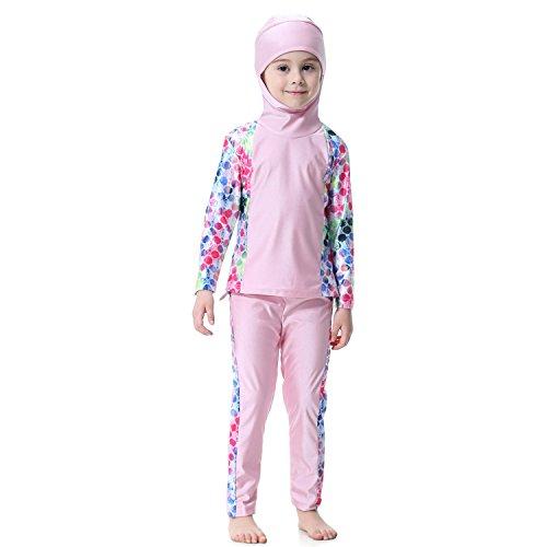 Dreamskull Mädchen Kinder Muslim Muslimische Islamische Badeanzug Schwimmanzug Burkini Bademode Badebekleidung Schwimmbekleidung Hijab Abaya Dubai Arabisch Türkisch Kleidung 80-160cm (160cm, Rosa)