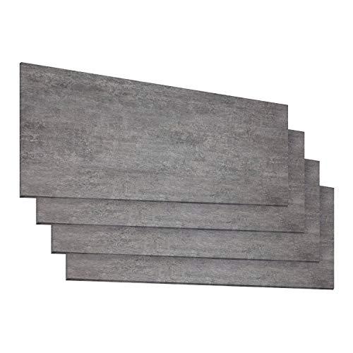 Schnell | Design Vinylboden Basic Steinoptik Fliesenformat Klicksystem Stärke 4,0mm Nutzschicht 0,3mm NKL 23/31 Wasserresistent | 1 Paket = 2,23m² | Beton Grau