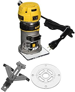 DEWALT DWP611 1.25 HP Max Torque Variable Speed Compact Router with LED's with Edge Guide and Round Sub Base