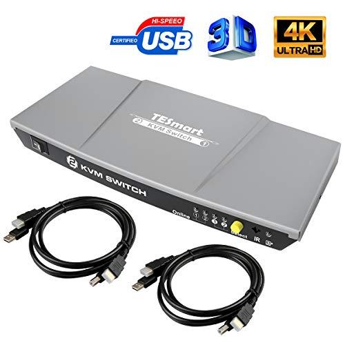 TESmart KVM Switch HDMI USB Commutatore a 2 Porte + 2 Cavi HDMI USB, 2 in 1, con Hub USB 2.0 4K 30Hz Ultra HD 1080P 3D per PC Monitor/Tastiera/Controllo del Mouse(Grigio/Gray)
