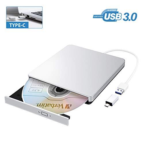VicTsing Masterizzatore Dvd Esterno USB 3.0, Lettore CD Esterno per PC Portatile con Type-C Ultra Sottile, per Windows Mac OS
