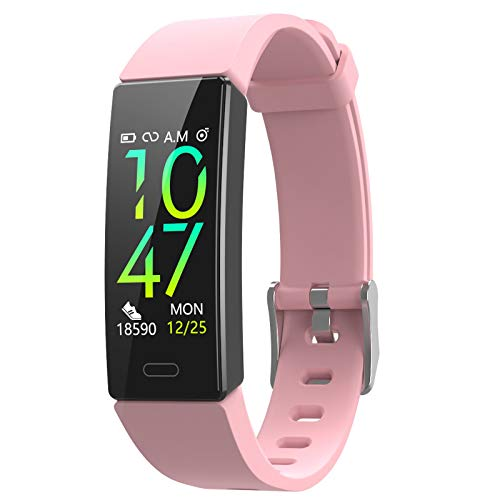 ZURURU Fitness Tracker with Blood Pressure Heart Rate Sleep Monitor, Waterproof Activity Tracker with Step Calorie Counter Pedometer for Women & Men (Pink)