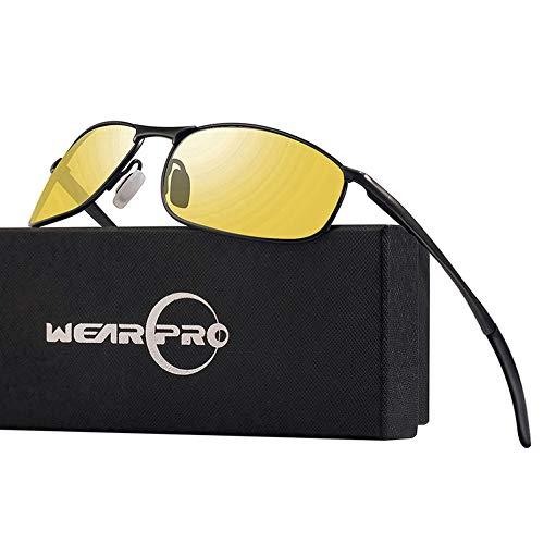 wearPro Nachtsichtbrille Anti-Glare-Schutzbrille Herren Sportbrille Al-Mg Metallrahmen Superleichtgewicht WP1015 (Yellow)