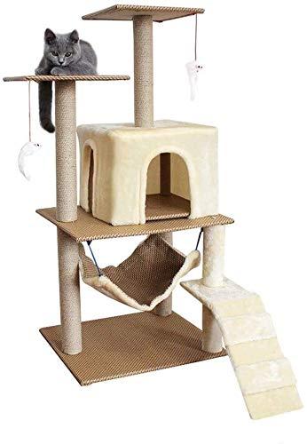 Wxxdlooa Hamaca Gato Columpio, Gran Multi-Capa del Gato Casa de una Sola Pieza Columpio Gato Tablero del rasguño del Gato Pilar Rattan sisal (Color : Beige)